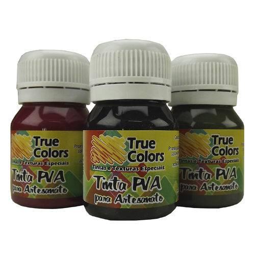 Tinta Pva para Artesanato Fosca 37ml Cores Escuras - True Colors