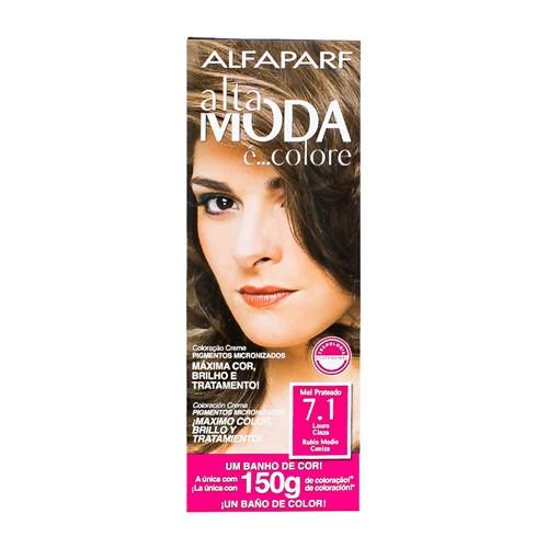 Tintura Creme Altamoda Alfaparf Mel Prateado 7.1 Kit