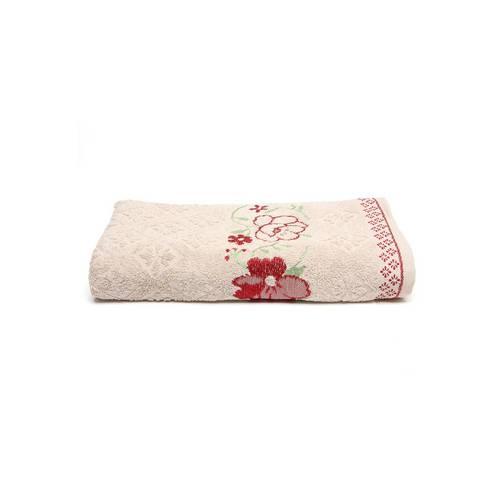 Toalha de Banho Karsten Yuna 70x135cm Bege/Vermelha Bege 70x135
