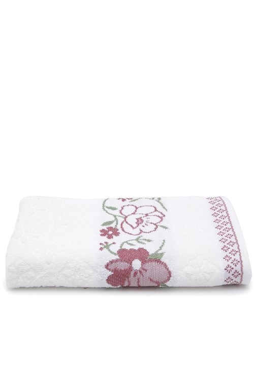 Toalha de Banho Karsten Yuna Fio Cardado 70X135Cm Branco e Bordô