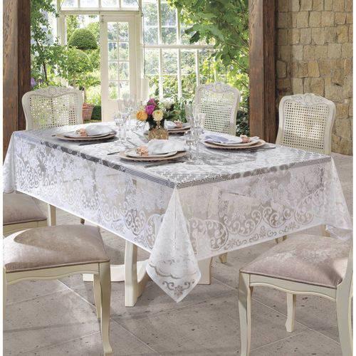 Toalha de Mesa de Renda 155cmx250cm Rosas Lepper Branco