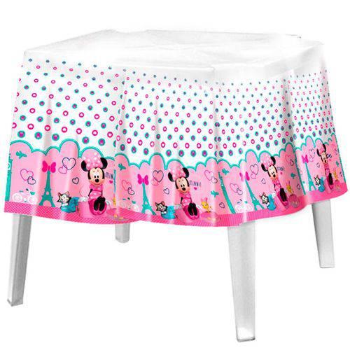 Toalha de Mesa Descartável Minnie Rosa