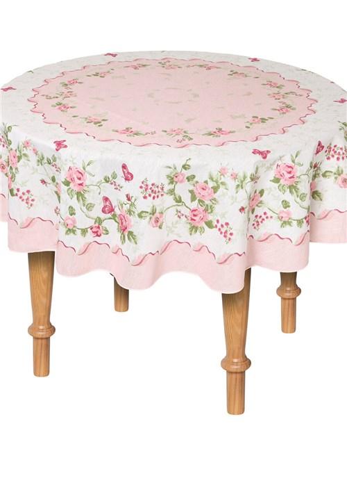 Toalha de Mesa Lepper Redonda Rose 155cm Rosa/Branca