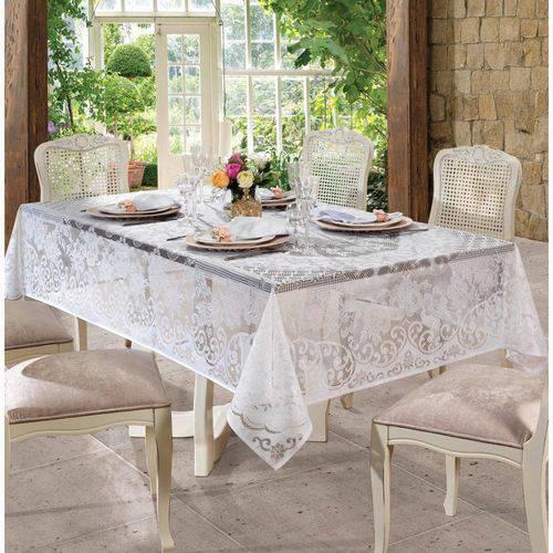 Toalha de Renda Retangular 8 Lugares Rosas 1,55 M X 2,50 M com 1 Peça Branco - Lepper