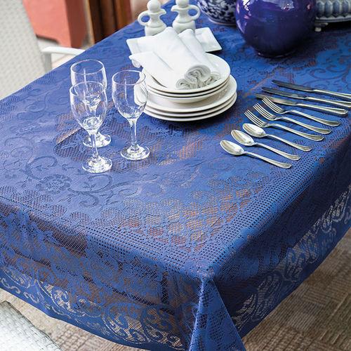 Toalha de Renda Retangular 8 Lugares Rosas 1,55 M X 2,50 M com 1 Peça Lepper Azul