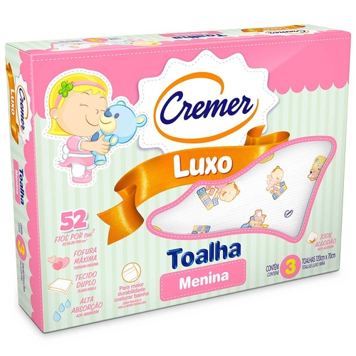 Toalha Fralda Luxo Estampada Menina - Cremer