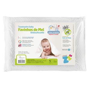 Travesseiro Favinhos Baby Antissufocante Lavável 30x40 Cm - BRANCO