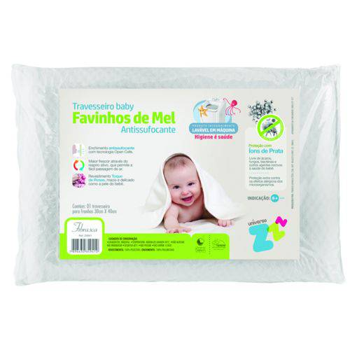 Travesseiro Favinhos Baby Antissufocante Lavável 30x40 Fibra