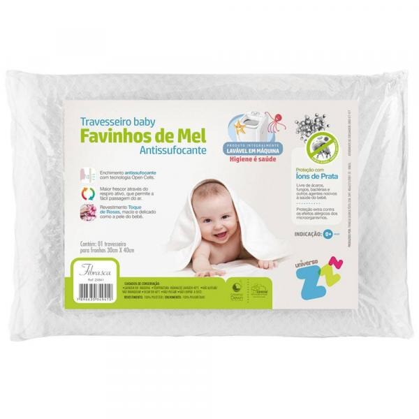 Travesseiro Fibrasca Baby Favinhos de Mel 30 X 40 Cm