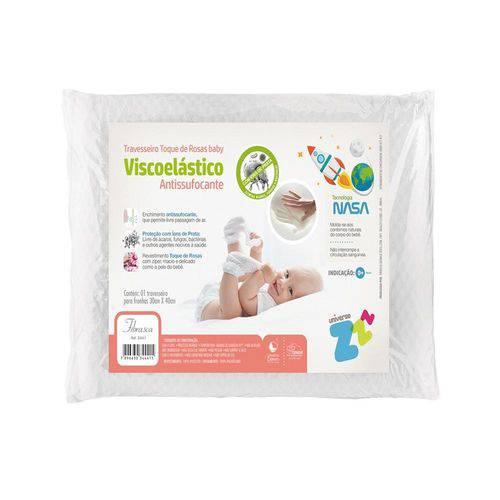 Travesseiro para Bebê Antissufocante Visco Toque de Rosas Fibrasca Z4441