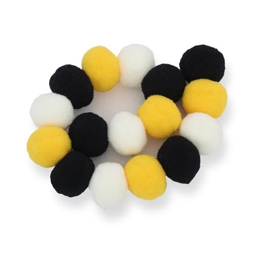 Varal de Pompom Preto, Branco e Amarelo