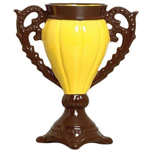 Tudo sobre 'Vaso Decorativo de Cerâmica Amarelo Marrom 36x29,5 Cm'