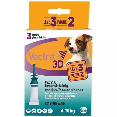 Tudo sobre 'Vectra 3d Cães 4 a 10kg 1.6ml Anti-pulgas Ceva 3 Pipetas'