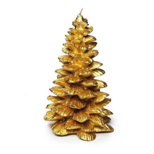Tudo sobre 'Vela Pinheiro Decoração Natal Dourado'