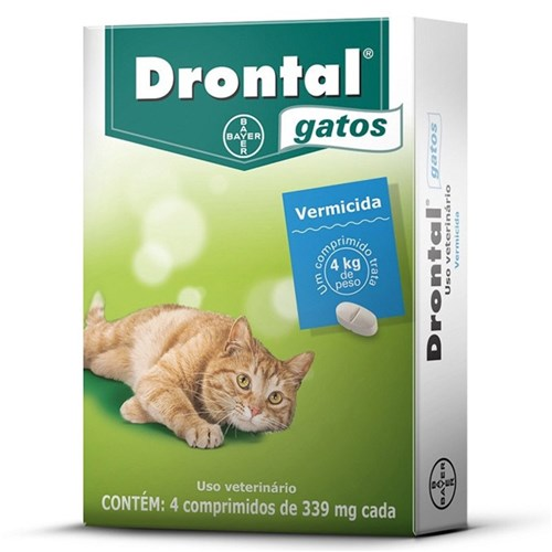 Vermifugo Drontal Gatos Ate 4Kg com 4 Comprimidos 339Mg Cada