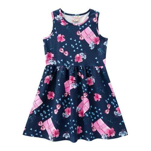 Tudo sobre 'Vestido Azul Marinho com Flores - 4'