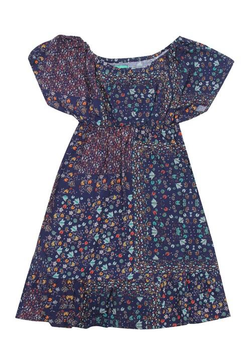 Vestido Bisi Estampado Azul-Marinho