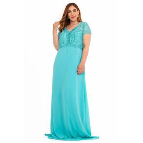 Vestido Bordado Flores - 48 - AZUL TURQUESA