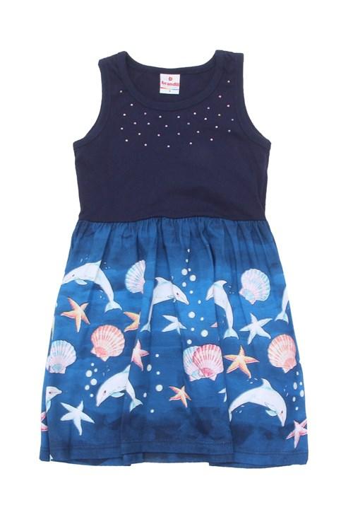 Vestido Brandili Estampa Azul-Marinho