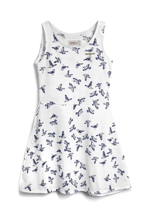 Vestido Carinhoso Estampa Off-White/Azul