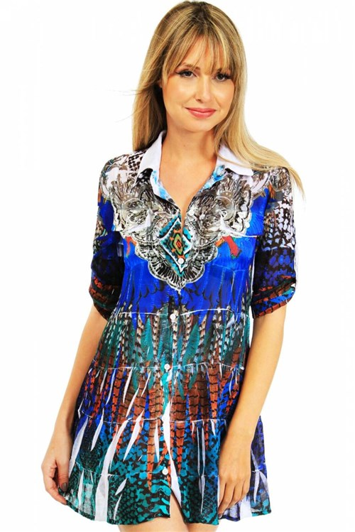 Vestido Chemise Estampado Penas Azul