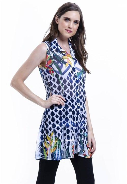 Vestido Chemise Evasê Estampado Azul