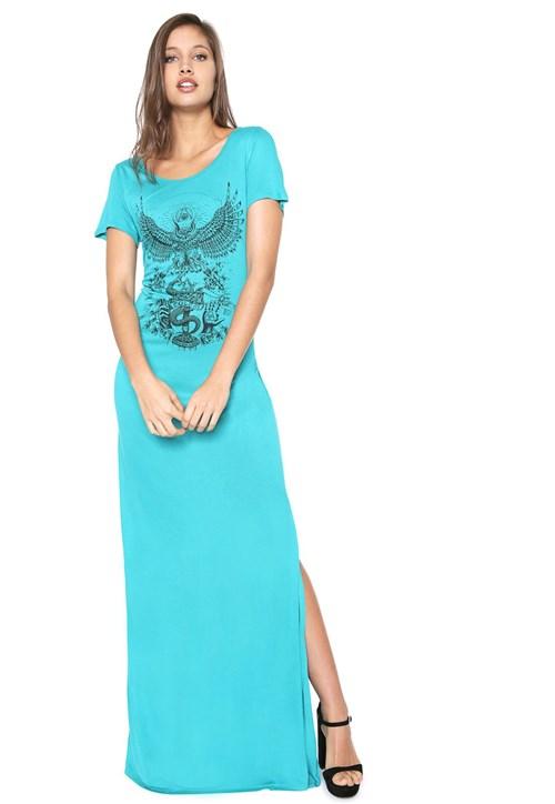 Vestido Colcci Longo Estampado Azul