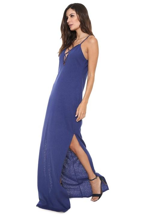 Vestido Colcci Longo Strappys Azul