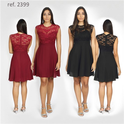 Vestido Curto Rodado / Renda e Guippir - Ref. 2399
