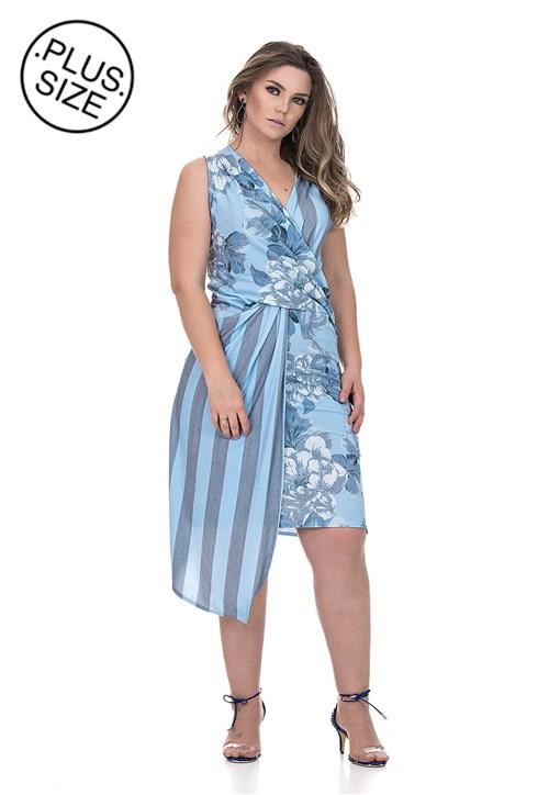 Vestido Curto Talento Estampado Azul
