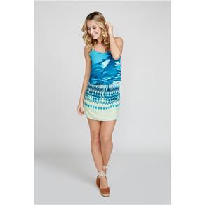 Vestido Decote Arredondado Estampa Waves - GG - AZUL