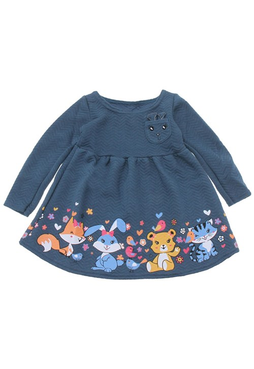 Vestido Elian Estampa Azul-Marinho