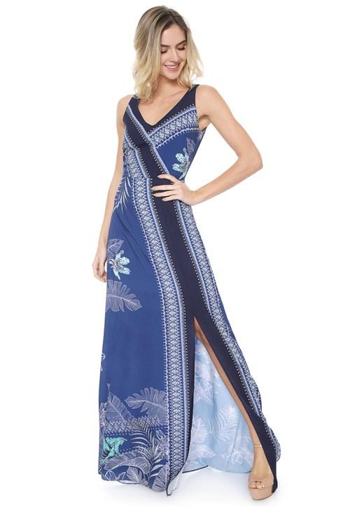 Vestido Enfim Longo Estampado Azul