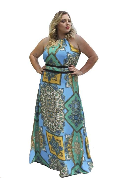Vestido Estampa de Lenço Azul- 17915