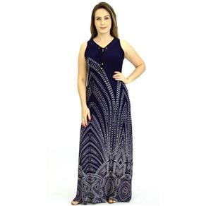 Vestido Estampado - AZUL MARINHO