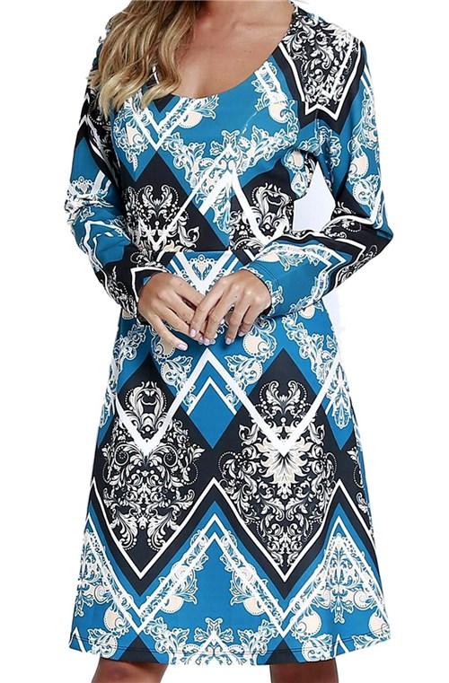 Vestido Estampado Energia Fashion Estampado Azul