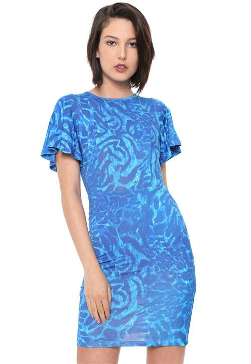 Vestido Forum Curto Estampado Azul
