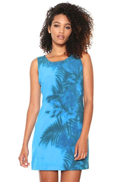 Vestido Gris Curto Estampado Azul