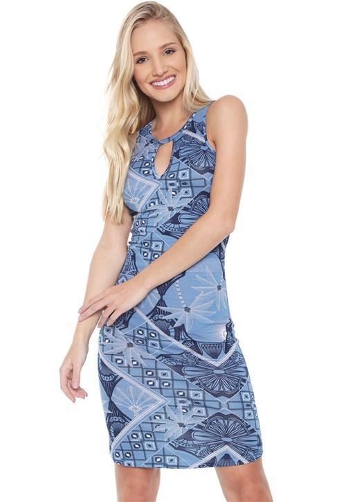 Vestido Habana Curto Estampado Azul