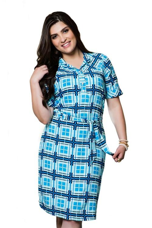 Vestido Hadaza Estampado de Viscose Azul