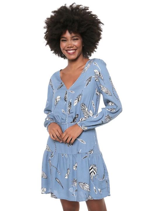 Vestido Hering Curto Estampado Azul