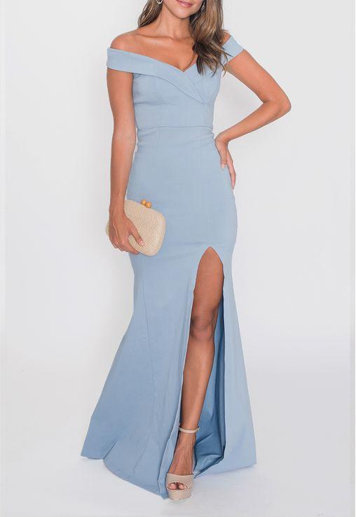 Vestido Jamile Longo Powerlook - Azul 36