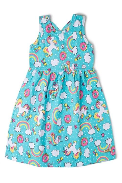 Vestido Kids Estampado Edvertido Azul