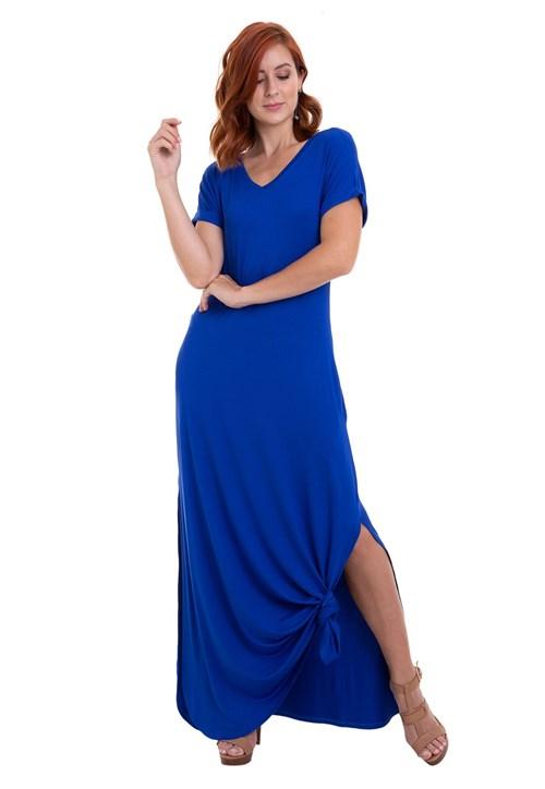 Vestido Kinara Malha Longo Azul