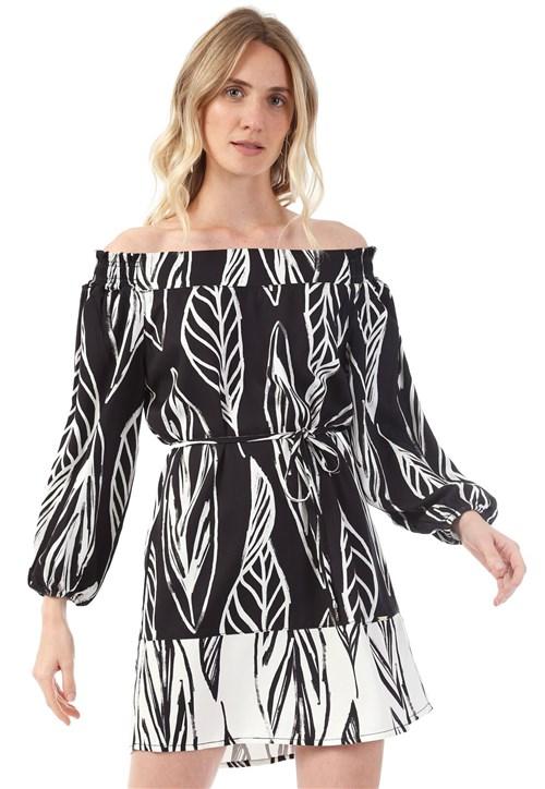 Vestido Lança Perfume Curto Estampado Preto/Branco