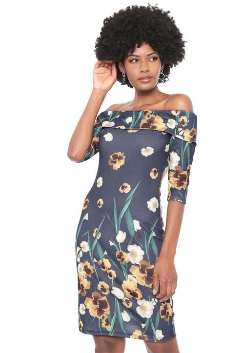 Vestido Lança Perfume Curto Ombro a Ombro Azul-marinho/Amarelo