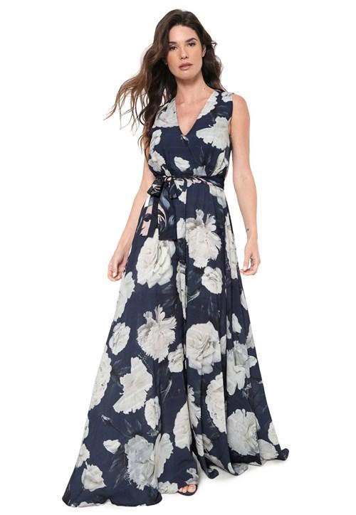 Vestido Lança Perfume Longo Floral Azul
