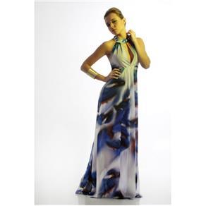 Vestido Longo Amarílis Musseline - G - Azul