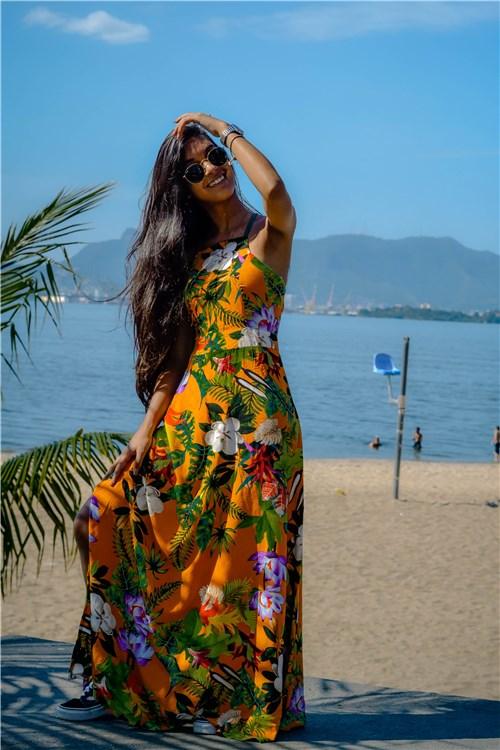 Vestido Longo Amarílis / G / Estampa Laranja