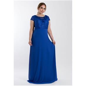 Vestido Longo Bordado - AZUL ROYAL - 48